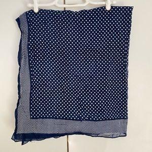 💥3/$25💥 NWOT Blue & White Polka Dot Cotton Scarf